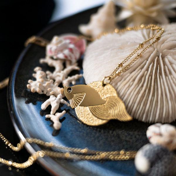 Sautoir Poisson voile Les Naturalistes bijoux - Finition Or
