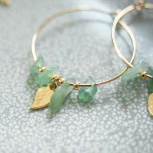 finition feuilles et pierres vertes or - Bijoux de créateur Les Naturalistes