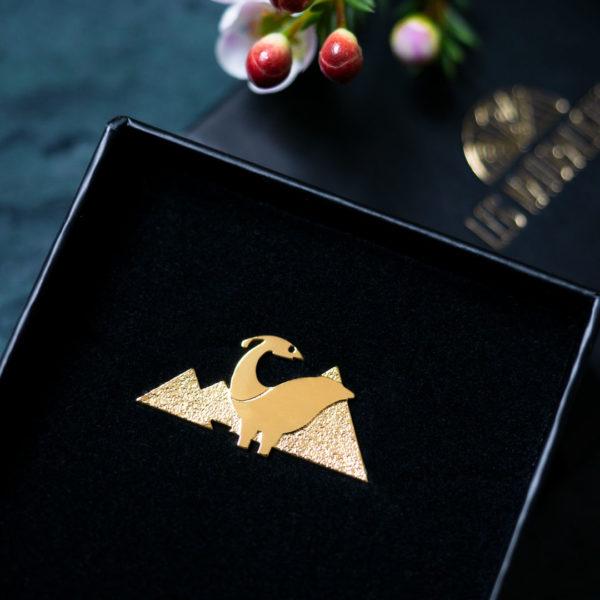 Pins dinosaure finition or dans sa boîte - Les Naturalistes bijoux